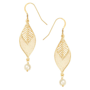 Chevron Leaf Pearl Earrings - 24K Gold Plated