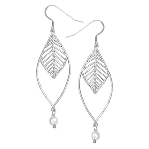 Chevron Double Leaf Pearl Earrings - Platinum Silver
