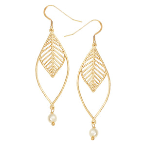 Chevron Double Leaf Pearl Earrings - 24K Gold Plated