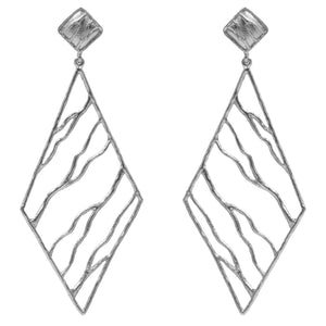 Intricate Branches Diamond Earrings - Platinum Silver