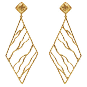 Intricate Branches Diamond Earrings - 24K Gold Plated