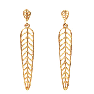 Chevron Leaf Arrow Earrings (Post) - 24K Gold Plated