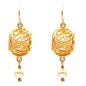 Caged Pearl Ball Earrings - 24K Gold Plated