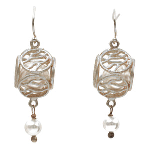 Caged Pearl Ball Earrings - Platinum Silver