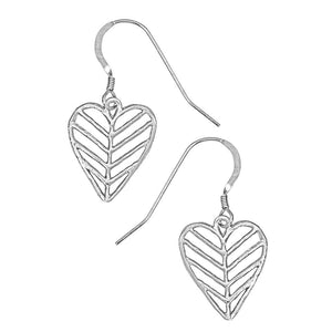 Chevron Leaf Heart Earrings - Platinum Silver