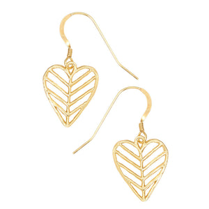 Chevron Leaf Heart Earrings - 24K Gold Plated