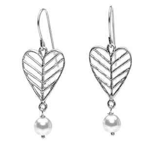 Chevron Leaf Heart Pearl Earrings - Platinum Silver
