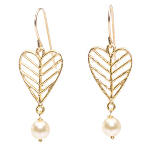 Chevron Leaf Heart Pearl Earrings - 24K Gold Plated