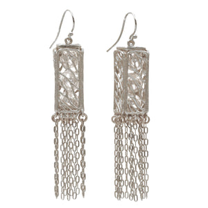 Caged Pearl Lantern Earrings - Platinum Silver