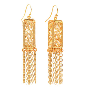 Caged Pearl Lantern Earrings - 24K Gold Plated