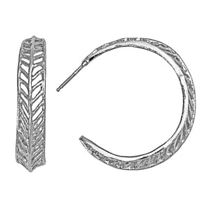 Chevron Leaf Hoop Earrings - Platinum Silver