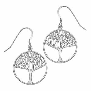 Tree of Life Earrings (Medium) - Platinum Silver