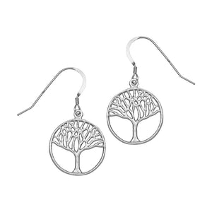 Tree of Life Earrings (Small) - Platinum Silver