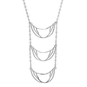 Crescent Chandelier Necklace - Platinum Silver