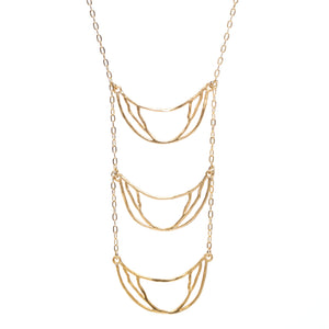 Crescent Chandelier Necklace - 24K Gold Plated