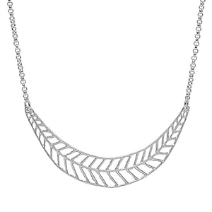 Chevron Leaf Collar Necklace - Platinum Silver