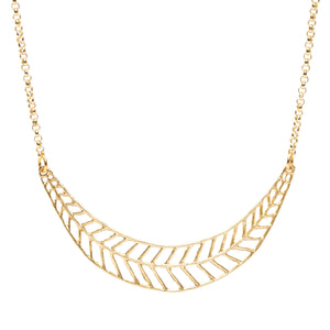 Chevron Leaf Collar Necklace - 24K Gold Plated