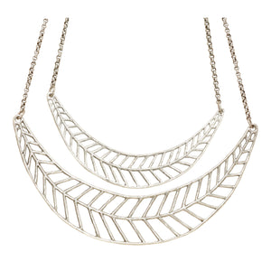 Chevron Leaf Collar Necklace (Double) - Platinum Silver