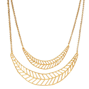 Chevron Leaf Collar Necklace (Double) - 24K Gold Plated