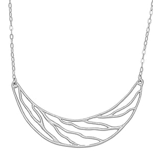 Intricate Branches Collar Necklace - Platinum Silver