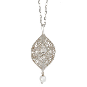 Caged Pearl Heart Leaf Necklace - Platinum Silver