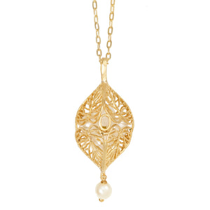 Caged Pearl Heart Leaf Necklace - 24K Gold Plated