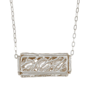 Caged Pearl Necklace - Platinum Silver