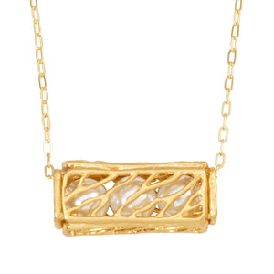 Caged Pearl Necklace - 24K Gold Plated