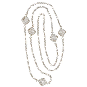 Caged Pearl Ball Necklace - Platinum Silver