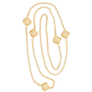 Caged Pearl Ball Necklace - 24K Gold Plated