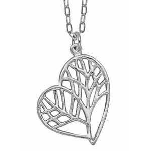 Tree of Life Heart Necklace - Platinum Silver