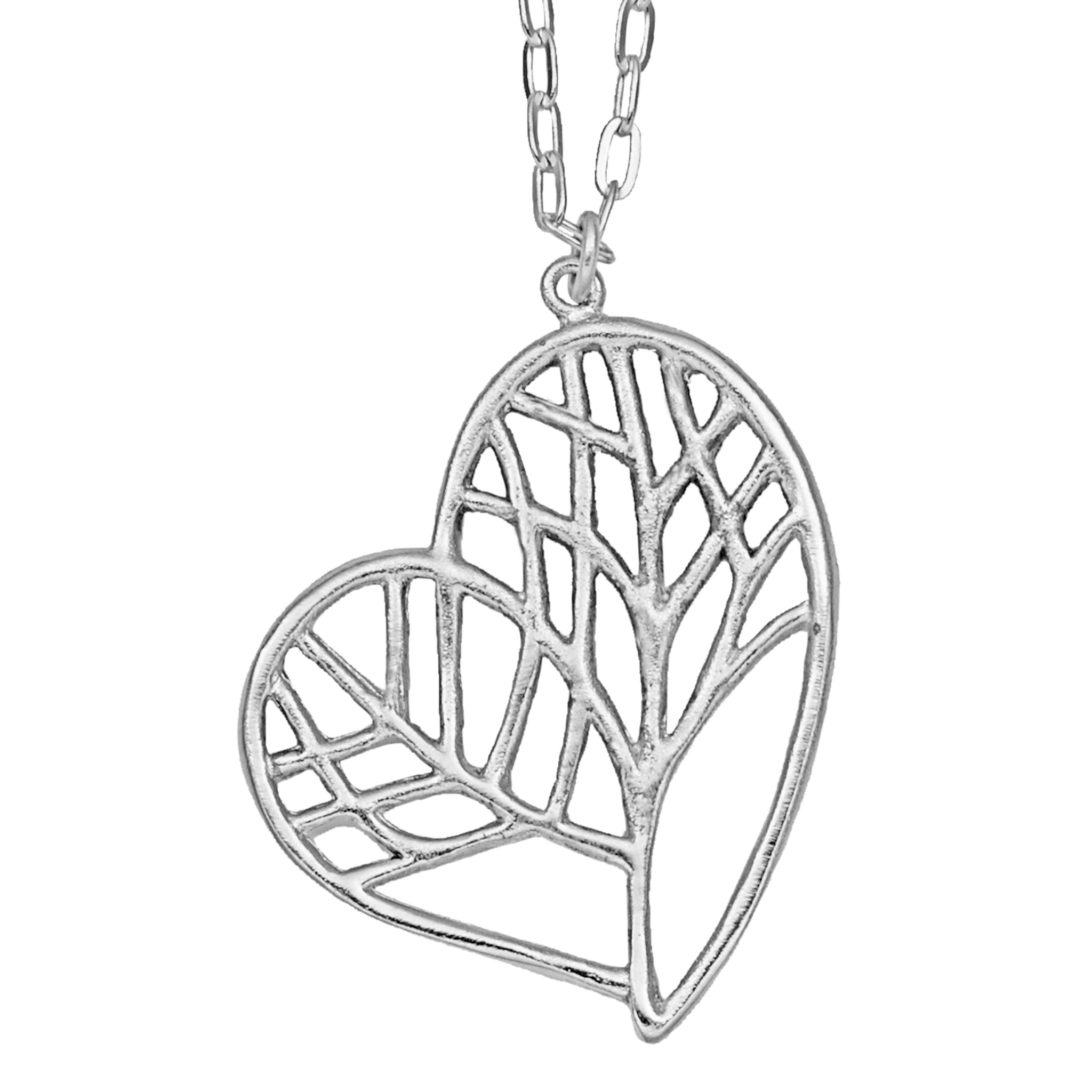 Tree of Life Heart Necklace (Large) - Platinum Silver