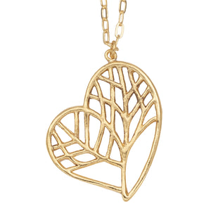 Tree of Life Heart Necklace (Large) - 24K Gold Plated