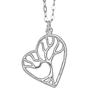 Tree of Life Enchanted Heart Necklace - Platinum Silver
