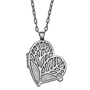 Tree of Life Heart Locket Necklace - Platinum Silver