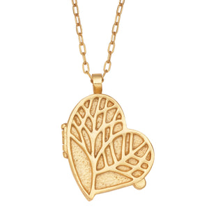 Tree of Life Heart Locket Necklace - 24K Gold Plated