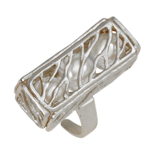 Caged Pearl Ring - Platinum Silver