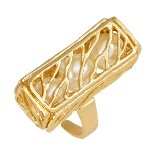 Caged Pearl Ring - 24K Gold Vermeil