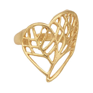 Tree of Life Heart Ring - 24K Gold Vermeil