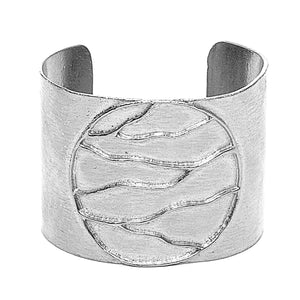 Intricate Branches Solid Disk Cuff - Platinum Silver