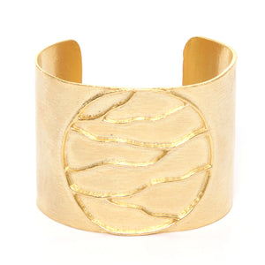 Intricate Branches Solid Disk Cuff - 24K Gold Plated