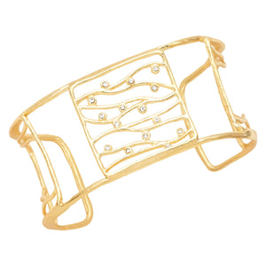 Intricate Branches Square Cuff - 24K Gold Plated
