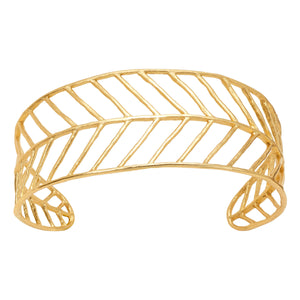 Chevron Leaf Cuff - 24K Gold Plated