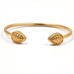Element Leaf Bangle Bracelet - 24K Gold Plated