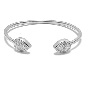 Element Leaf Bangle Bracelet - Platinum Silver