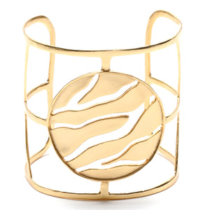 Intricate Branches Disk Cuff - 24K Gold Plated