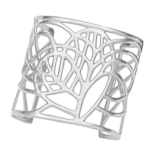 Tree of Life Loving Heart Cuff - Platinum Silver