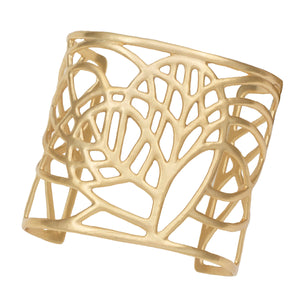 Tree of Life Loving Heart Cuff - 24K Gold Plated