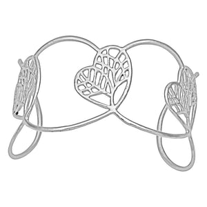 Tree of Life Heart Cuff - Platinum Silver