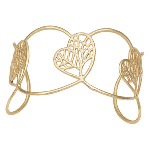 Tree of Life Heart Cuff - 24K Gold Plated